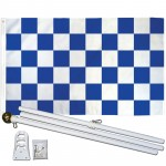 Checkered Blue & White 3' x 5' Polyester Flag, Pole and Mount