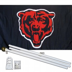 Chicago Bears Mascot 3' x 5' Polyester Flag, Pole and Mount