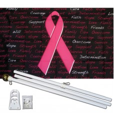 Breast Cancer Awareness Black 3' x 5' Polyester Flag, Pole and Mount