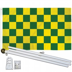 Checkered Green & White 3' x 5' Polyester Flag, Pole and Mount