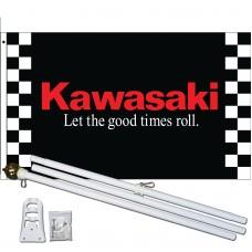 Kawasaki Black 3' x 5' Polyester Flag, Pole and Mount