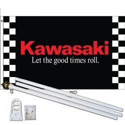 Kawasaki Black 3' x 5' Polyester Flag, Pole and Mount