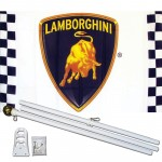 Lamborghini Racing White 3' x 5' Polyester Flag, Pole and Mount