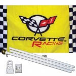 Corvette Yellow Checkered 3' x 5' Polyester Flag, Pole and Mount