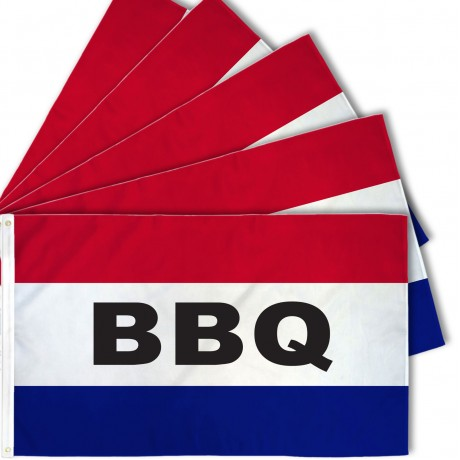 BBQ Patriotic 3' x 5' Polyester Flag - 5 Pack