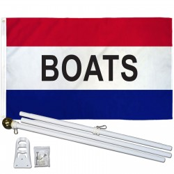 Boats Patriotic 3' x 5' Polyester Flag, Pole and Mount