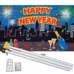 Happy New Year City 3' x 5' Polyester Flag, Pole and Mount
