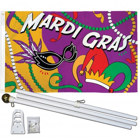 Mardi Gras Party 3' x 5' Polyester Flag, Pole and Mount