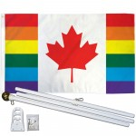 Canada Pride Rainbow 3' x 5' Polyester Flag, Pole and Mount