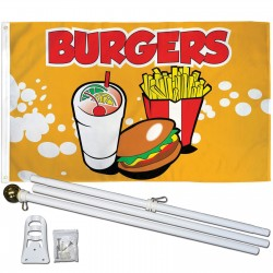 Burgers 3' x 5' Polyester Flag, Pole and Mount