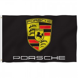 Porsche Black 3' x 5' Polyester Flag