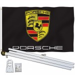 Porsche Black 3' x 5' Polyester Flag, Pole and Mount