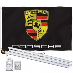 Porsche Black 3' x 5' Polyester Flag, Pole and Mount