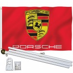 Porsche Red 3' x 5' Polyester Flag, Pole and Mount