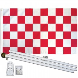Checkered Red & White 3' x 5' Polyester Flag, Pole and Mount