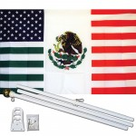 USA Mexico Friendship 3' x 5' Polyester Flag, Pole and Mount