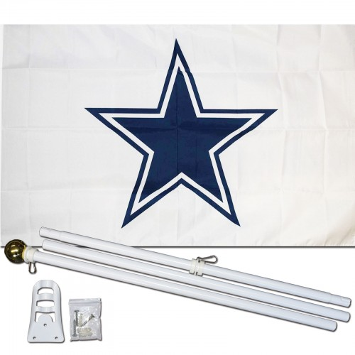 Dallas Cowboys White 3 X 5 Polyester Flag Pole And Mount