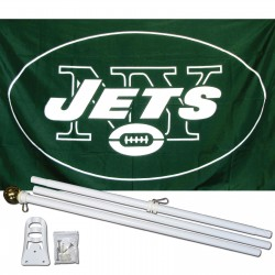 New York Jets 3' x 5' Polyester Flag, Pole and Mount