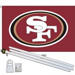 San Francisco 49ers 3' x 5' Polyester Flag, Pole and Mount