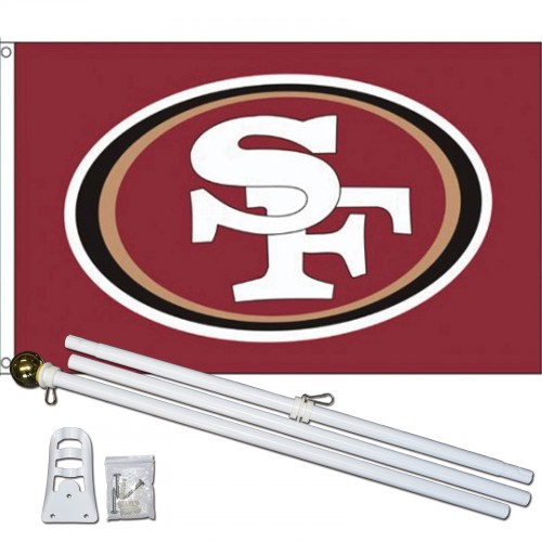new product 4096c cb784 San Francisco 49ers 3' x 5' Polyester Flag, Pole and Mount