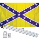 Purple Gold Battle 3' x 5' Polyester Flag, Pole and Mount