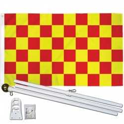 Checkered Red & Yellow 3' x 5' Polyester Flag, Pole and Mount