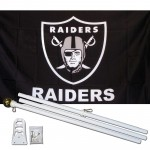 Oakland Raiders 3' x 5' Polyester Flag, Pole and Mount