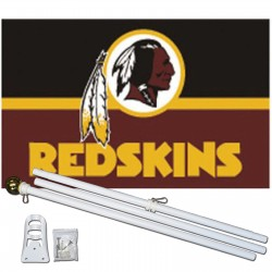 Washington Redskins 3' x 5' Polyester Flag, Pole And Mount