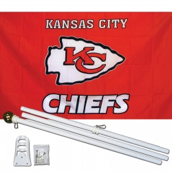 Kansas City Chiefs 3' x 5' Polyester Flag, Pole And Mount