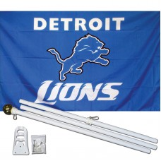 Detroit Lions 3' x 5' Polyester Flag, Pole and Mount