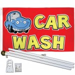 Car Wash Red 3' x 5' Polyester Flag, Pole and Mount