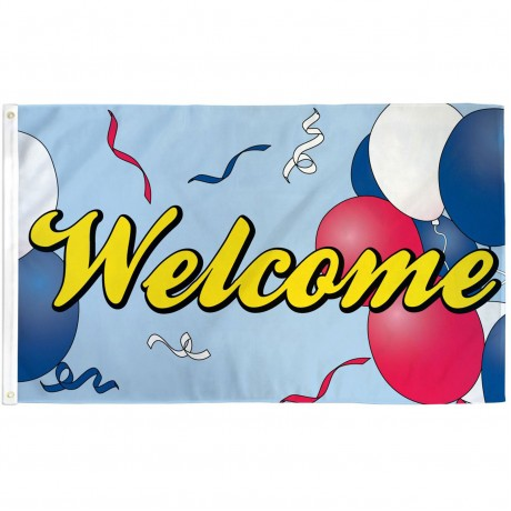 Welcome Balloons 3' x 5' Polyester Flag