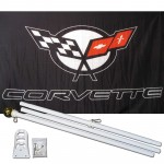 Corvette Black 3' x 5' Polyester Flag, Pole and Mount