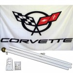 Corvette White 3' x 5' Polyester Flag, Pole and Mount