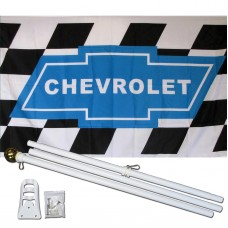 Chevrolet Checkered 3' x 5' Polyester Flag, Pole and Mount
