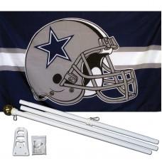 Dallas Cowboys Helmet 3' x 5' Polyester Flag, Pole and Mount