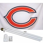 Chicago Bears White 3' x 5' Polyester Flag, Pole and Mount