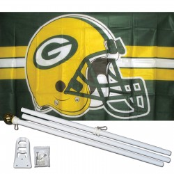 Green Bay Packers Helmet 3' x 5' Polyester Flag, Pole and Mount