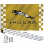 Jaguar Gold Checkered 3' x 5' Polyester Flag, Pole and Mount