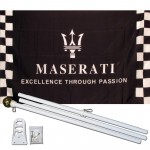 Maserati Black Checkered 3' x 5' Polyester Flag, Pole and Mount