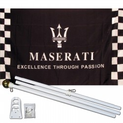 Maserati Black Checkered 3' x 5' Polyester Flag, Pole and Mount