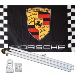 Porsche Black Checkered 3' x 5' Polyester Flag, Pole and Mount