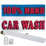 100% Hand Car Wash 3' x 5' Polyester Flag, Pole and Mount