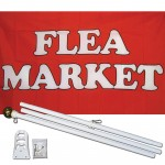 Flea Market Red 3' x 5' Polyester Flag, Pole and Mount