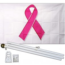 Breast Cancer Awareness White 3' x 5' Polyester Flag, Pole and Mount