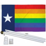 Rainbow Texas 3' x 5' Polyester Flag, Pole and Mount