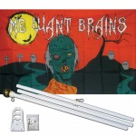 Me Want Brains Zombie 3' x 5' Polyester Flag, Pole and Mount