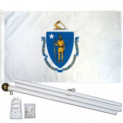 Massachusetts State 2' x 3' Polyester Flag, Pole and Mount