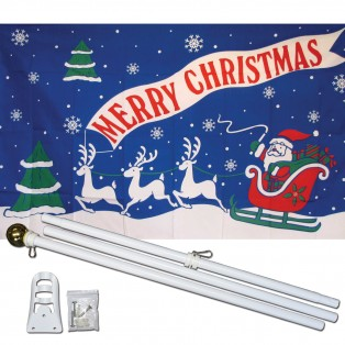 Merry Christmas Blue 3' x 5' Polyester Flag, Pole and Mount