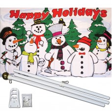 Happy Holidays Snowmen 3' x 5' Polyester Flag, Pole and Mount